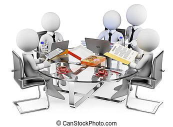 affari, informale, persone., bianco, riunione, 3d