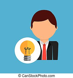affari, lavoratore, idea, completo, uomo, icona