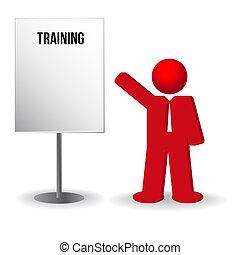 affari, lavoro, buffetto, chart., persona, addestramento, uomo