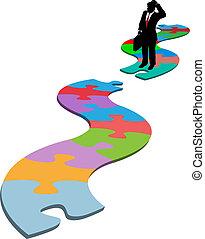 affari, mancante, puzzle, percorso, pezzo, trovare, uomo