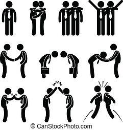 affari, maniera, gesto, saluti