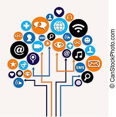 affari, media, albero, piano, sociale, reti
