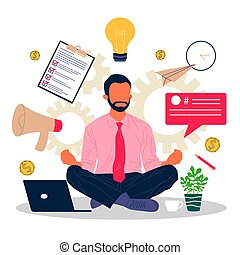 affari, meditare, uomo rilassa, posizione loto