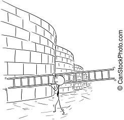 affari, parete, scala, portante, arrampicarsi, cartone animato, uomo
