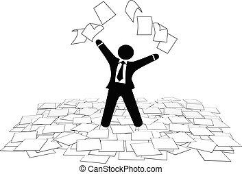 affari, pavimento, pagine, lavoro, aria, carta, tiri, uomo