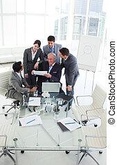 affari persone, felice, relazione, vendite, diverso, studiare