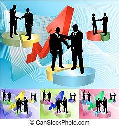 affari persone, illustrazione, piechart, concetto