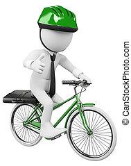 affari, persone., lavoro, bicicletta, bianco, 3d