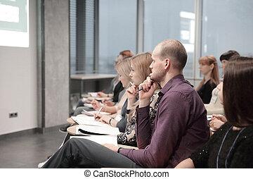 affari persone, relazione, circa, giovane, ascolto, concentrati, ditta