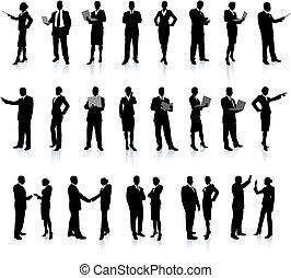 affari persone, set, super, silhouette