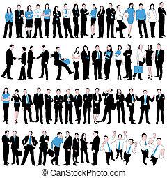 affari persone, silhouette, set, 60