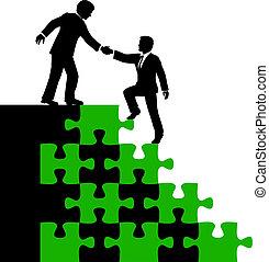 affari persone, socio, trovare soluzione, aiuto