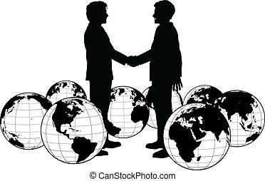 affari persone, stretta di mano, globale, accordo