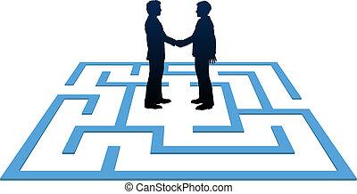 affari persone, trovare, labirinto, riunione, soluzione