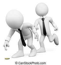 affari, persone., trucco, 3d, bianco