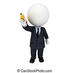 affari persone, uomo, 3d, bianco
