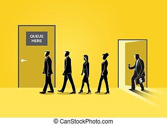 affari, porta chiusa, messa in lista d'attesa, persone