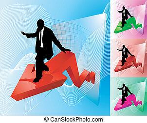 affari, profitto, illustrazione, surfer, concetto