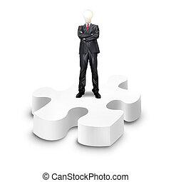 affari, puzzle, stare in piedi, fondo, bianco, 3d, sopra, uomo