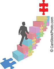 affari, puzzle, su, passi, arrampicarsi, uomo