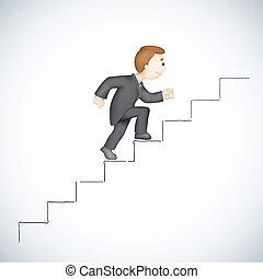 affari, rampicante, successo, scala, uomo