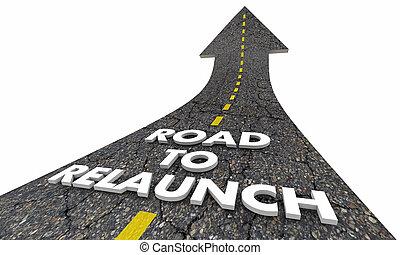 affari, relaunch, illustrazione, inizio, lancio, nuovo, strada, 3d