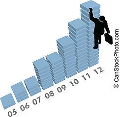 affari, salite, su, grafico, vendite, dati, uomo