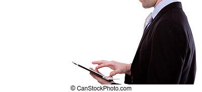 affari, schermo, giovane, contro, tocco, fondo, ritratto, congegno, usando, bianco, uomo