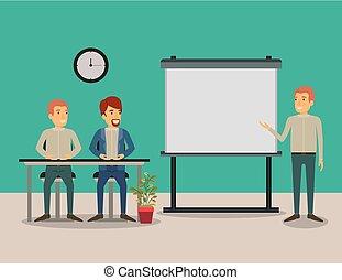 affari, seduta, colorare, coppia, esecutivo, persone, fondo, scrivania, presentacion, uomo