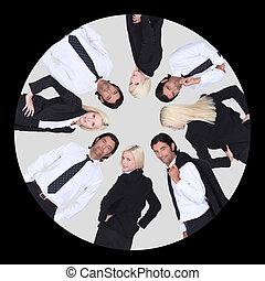 affari-squadra, cerchio, entro