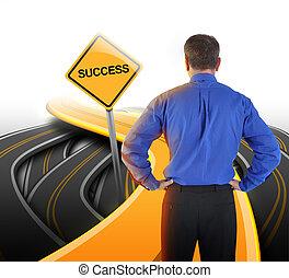 affari, strada, decisione, uomo, successo, dall'aspetto