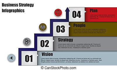 affari, &, strategia, quattro, passo, freccia