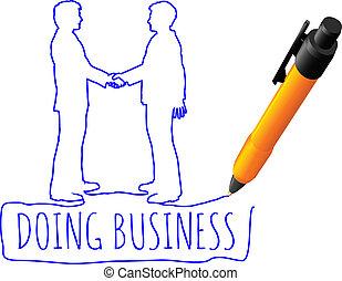 affari, stretta di mano, disegno, affare, persone