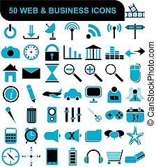 affari tela, collezione, icone