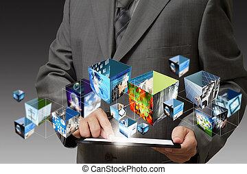 affari, tocco, mano, flusso continuo, computer, cuscinetto, presa a terra, immagini, 3d