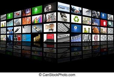 affari, tv, schermo grande, internet, pannello