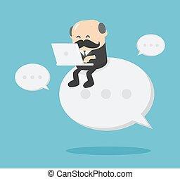 affari, usando, lavorativo, seduta, uomo senior, testo, quaderno