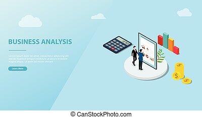 affari, vettore, analisi, spazio, sito web, concetto, isometrico, bandiera, -, sagoma