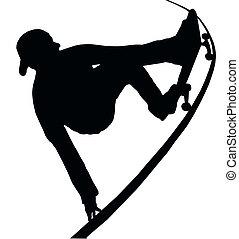 afferrare, rampa, vert, skateboarding