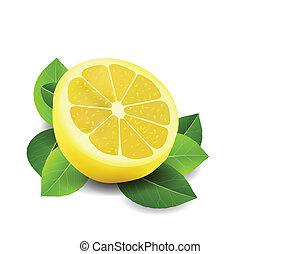 affettato, bianco, limone, isolato