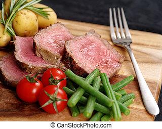 affettato, cena, bistecca