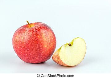 affettato, fondo., bianco, mela, rosso
