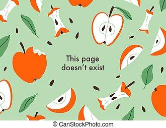 affettato, fondo, vettore, mele, pagina, errore, mangiato