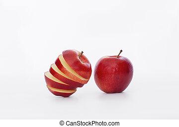 affettato, intero, mela rossa