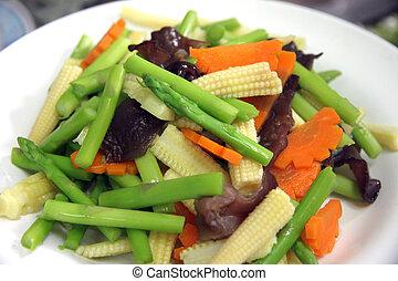 affettato, molti, verdura, tipi, dish.