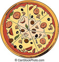 affettato, pizza, icona