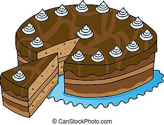 affettato, torta, cioccolato