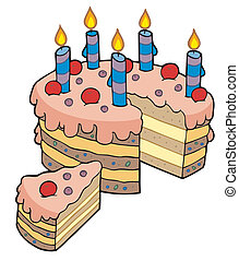 affettato, torta, compleanno, cartone animato