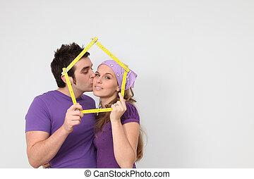 affettuoso, concetto, ipoteca, prendere, casa, coppia, nuovo, prestito