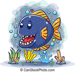 affilato, carino, piranha, denti, mare, sotto